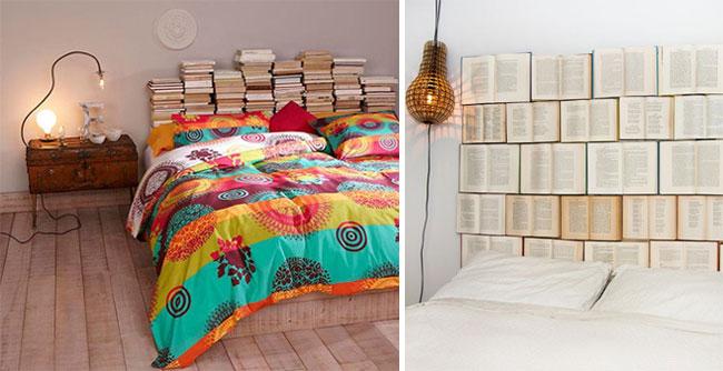 tete de lit avec vieux livres
