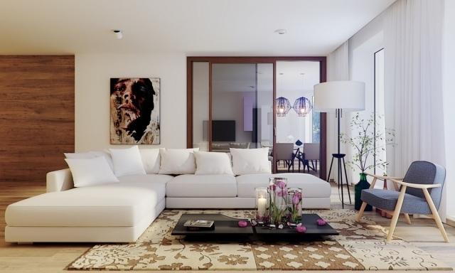 luminaire-salon-lampe-pied-canape-angle-blanc-abat-jour-forme-ovale-blanc-pied-noir-metallique